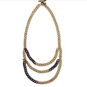 Michael Kors Multi Chain Black & Gold Necklace
